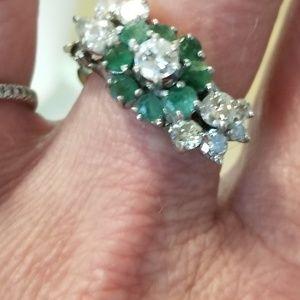 Authentic Emerald & 3+CTW  Diamond Estate Ring 7